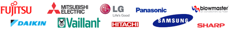 Blowmaster, Daikin, Fujitsu, Hitachi, LG Electronics, Mitsubishi Electric, Panasonic, Samsung, Sharp, Vaillant